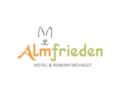 Almfrieden Hotel & Romantikchalet, Logo und Schrift, Hasen Umriss