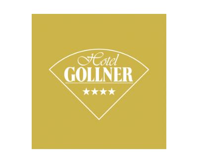 Hotel Gollner, Logo und Schrift, gebogenes Dreieck