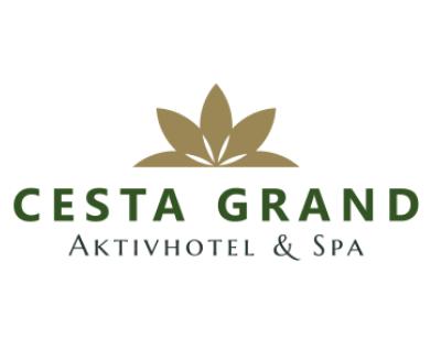 Cesta Grand, Logo und Schrift, goldene Blüte