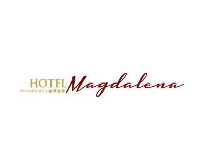 Hotel Magdalena, Schrift in gelb und rot