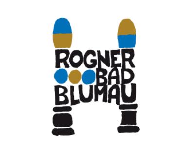 Rogner Bad Blumau, Logo und Schrift, gold blau schwarz
