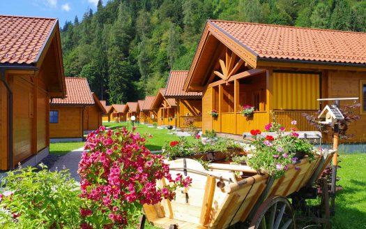 Blumen, Ausblick, Sommer, Sonne, Häuser, Berge
